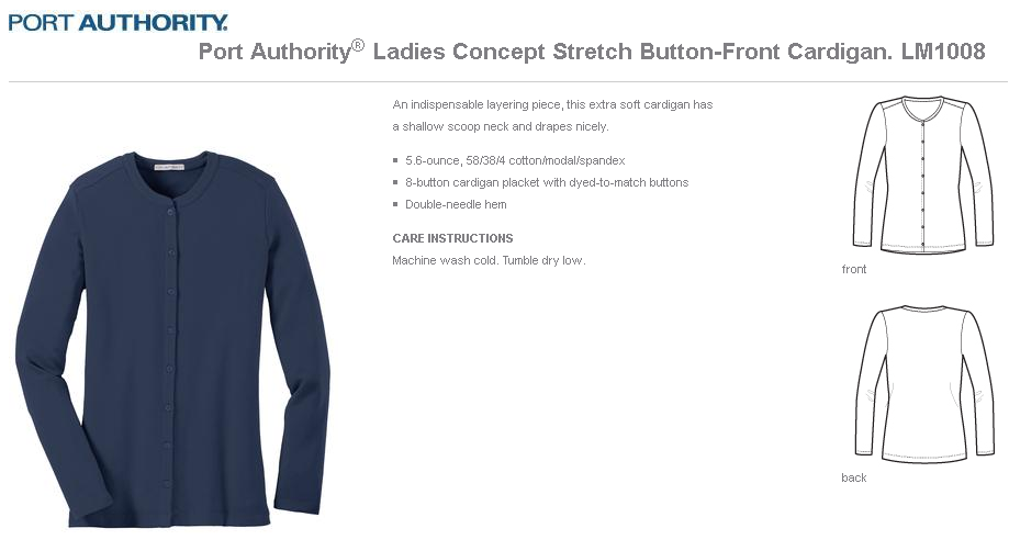 81fafc1fe537 Port Authority® Ladies Concept Stretch Button-Front Cardigan. LM1008 ...